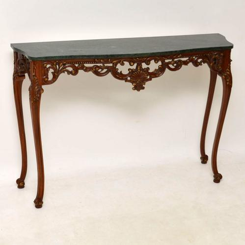 French Carved Walnut Marble Top Console Table c.1920 (1 of 1)