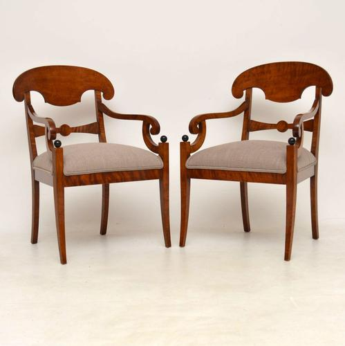 Pair of Antique Swedish Biedermeier Satin Birch Armchairs (1 of 1)