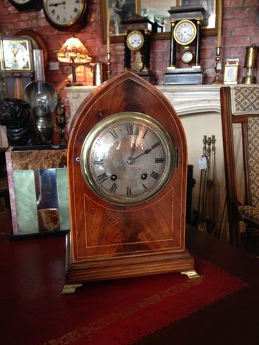 Rosewood & Inlay Lancet Top Clock, German c.1910 (1 of 5)
