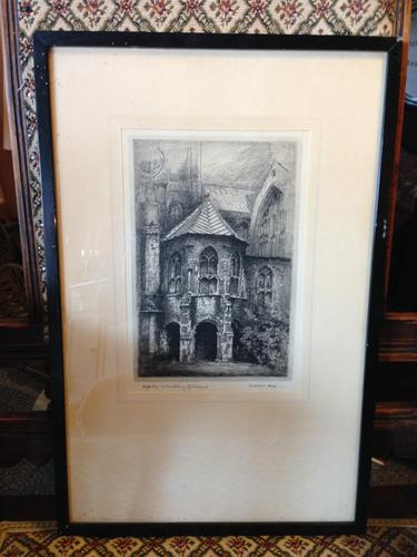Pair of Original Etchings of Canterbury Signed by Listed Artist Adrian Hill (1 of 2)
