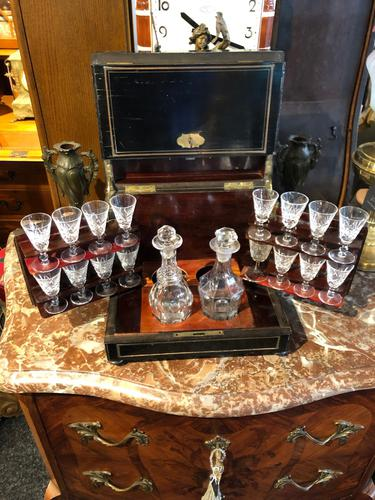 Antique Cave a Liqueur, French Tantalus Box, Empire Drinks Cabinet (1 of 9)