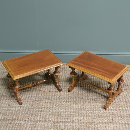 Unusual Pair of Small Victorian Walnut Antique Coffee Tables (1 of 6)