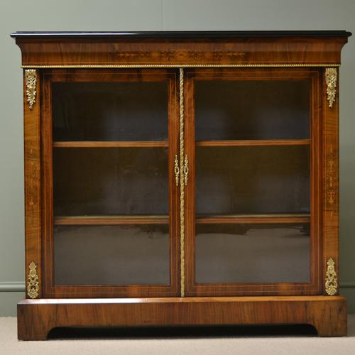 Spectacular Victorian Figured Walnut Inlaid Antique Pier Cabinet (1 of 9)