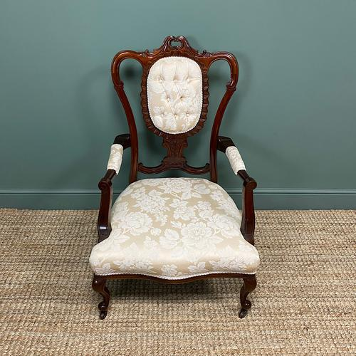 Elegant Victorian Upholstered Antique Arm Chair (1 of 7)