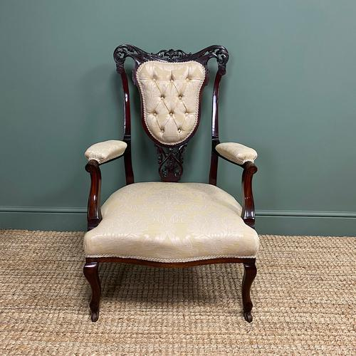 Elegant 19th Century Upholstered Antique Armchair (1 of 8)