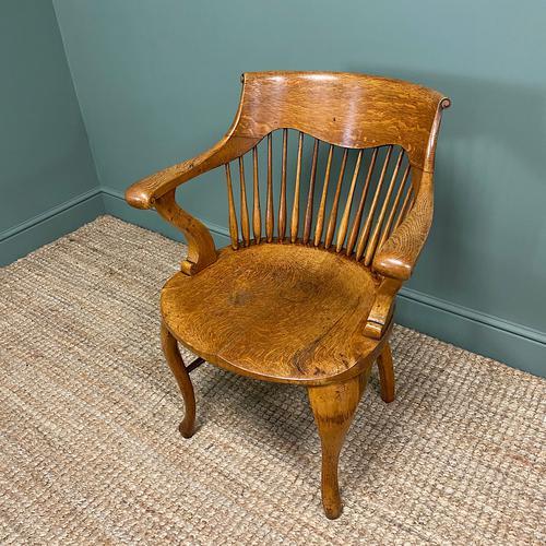 Large Victorian Golden Oak Antique Desk Chair (1 of 8)