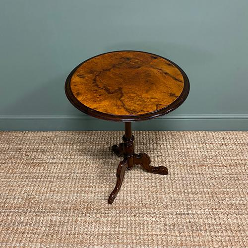 Beautifully Figured Victorian Walnut Antique Occasional Table (1 of 7)