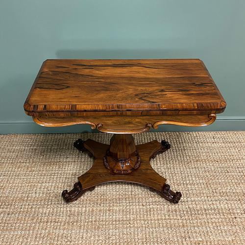 Spectacular William IV Rosewood Antique Card Table (1 of 10)