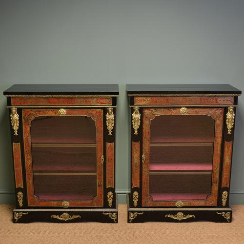 Spectacular Rare Pair of Decorative Victorian Boulle Glazed Pier Cabinets (1 of 1)