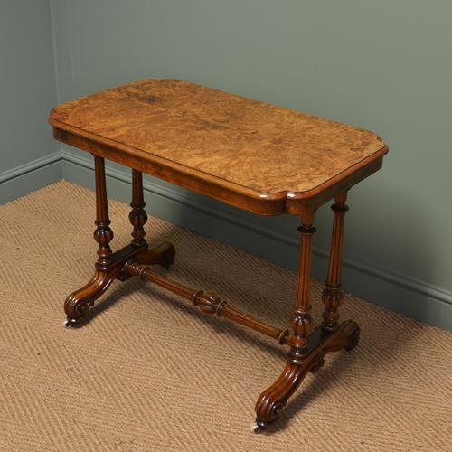Striking Victorian Figured Golden Burr Walnut Antique Centre / Side / Writing Table (1 of 1)