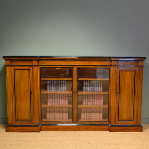 Spectacular Victorian Golden Oak Inverted Break Front Antique Bookcase / Cabinet (1 of 1)