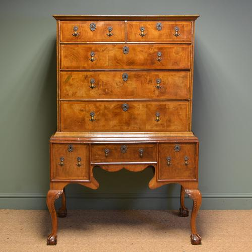 Magnificent 18th Century Figured Walnut Antique Chest on Stand (1 of 1)