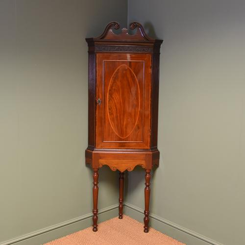 Elegant Georgian Figured Mahogany Antique Corner Cupboard on Stand (1 of 8)