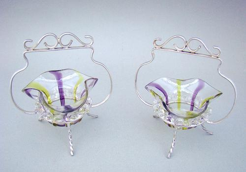 Pair of Victorian Silver Plated Stands with Small Glass Dishes c.1890 (1 of 6)
