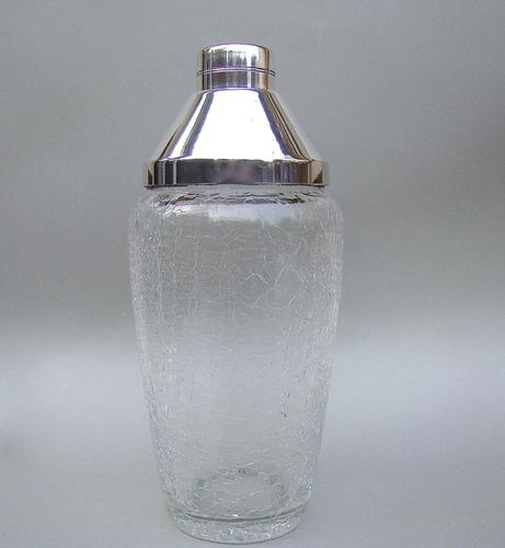 French Art Deco Silver Plated & Crackle Glass Cocktail Shaker (1 of 4)