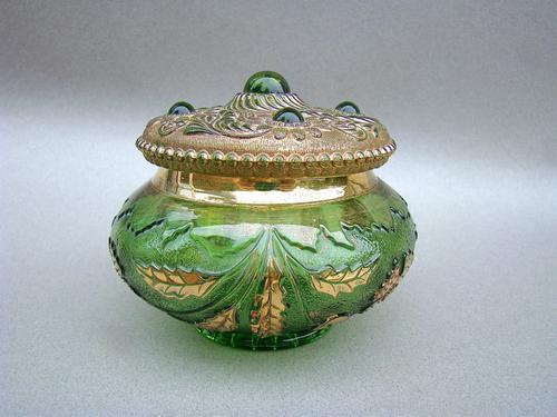 Unusual 19th Century Moser Green & Gilt Glass Dressing Table Jar c.1890 (1 of 7)