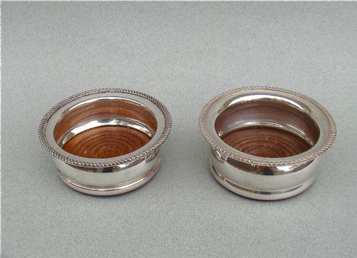 Pair of early 20th Century Silver Plated Condiment Coasters c.1910 (1 of 1)