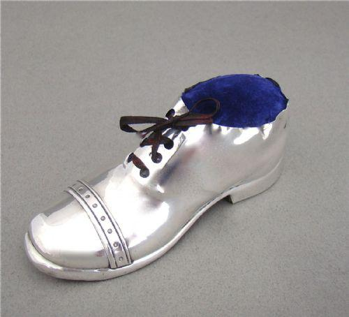 Novelty Silver Pin Cushion in the Form of a Shoe by S. Blanckensee & Sons, Birmingham 1923 (1 of 1)