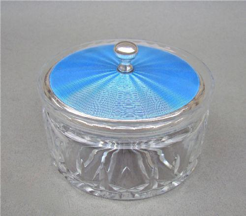 Art Deco Large Size Silver & Powder Blue Guilloche Enamel Toiletry Jar by the Adie Brothers, Birmingham 1928 (1 of 1)