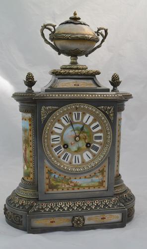 Silvered Bronze Porcelain Panelled Mantle Clock (1 of 6)