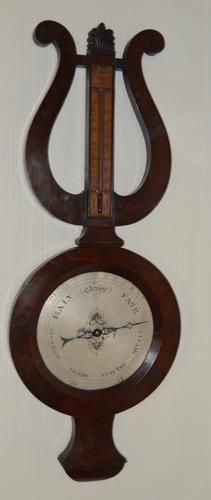 French Lyre Shaped Mahogany Barometer (1 of 5)