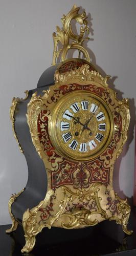 Large Impressive Boulle Tortoishell Mantel / Table Clock (1 of 7)