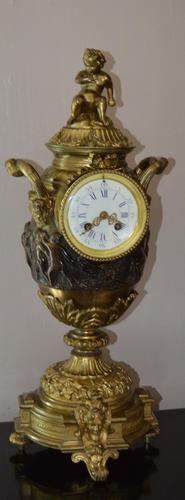 Large Impressive Vase Bronze French Victorian Mantel / Table Clock (1 of 7)