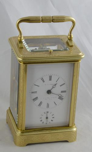 Le Cheminant London Bell Strking Engraved Carriage Clock (1 of 7)