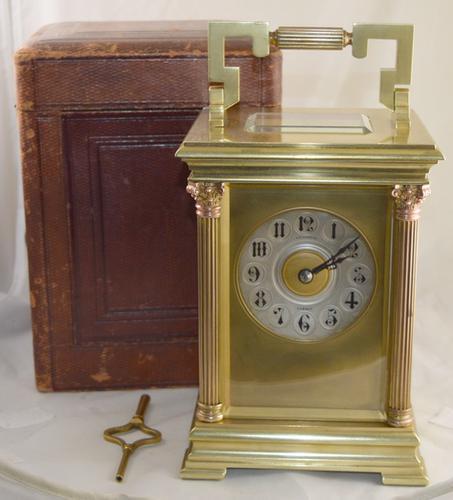 Rare 'Giant' Striking Carriage Clock, Original Box & Key (1 of 5)