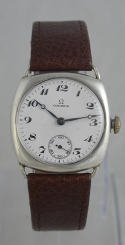 1924 Omega Silver 'Cushion' Cased Wristwatch (1 of 6)