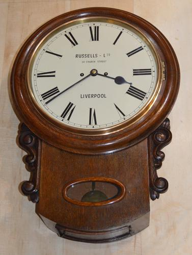 Russells of Liverpool Twin Fusee Drop Dial Wall Clock (1 of 4)
