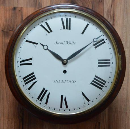 Georgian Convex Fusee Dial Wall Clock Sam White of Bideford c.1830 (1 of 1)