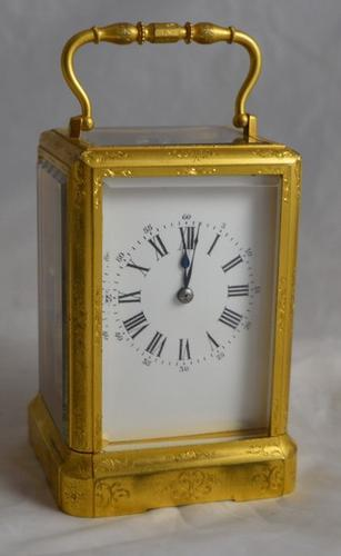 French Engraved One Piece Carriage Clock c.1855 (1 of 1)