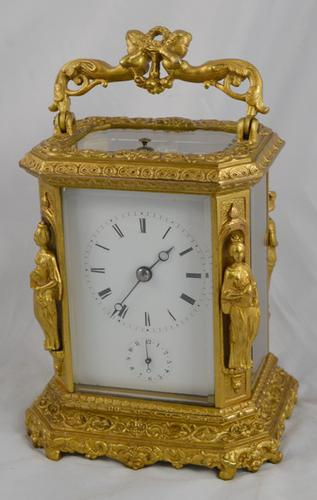 French Antique Carriage Clock by Japy Freres with Caryatids (1 of 1)
