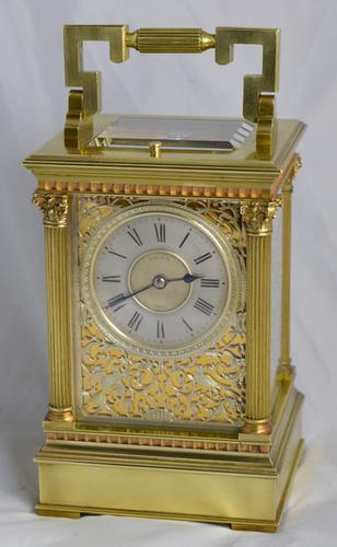 Antique Fretted Panelled Striking Carriage Clock (1 of 1)