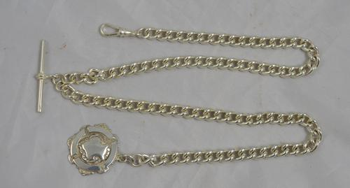 Long Silver Double Albert Watch Chain c.1920 (1 of 1)