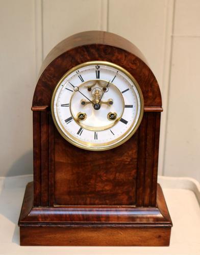 Walnut Arch Top Mantel Clock (1 of 9)