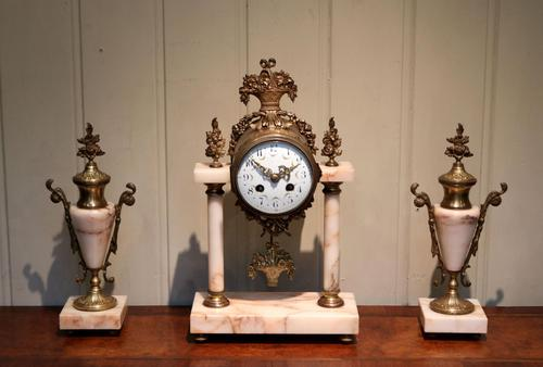 French Marble & Brass Clock Garniture (1 of 10)