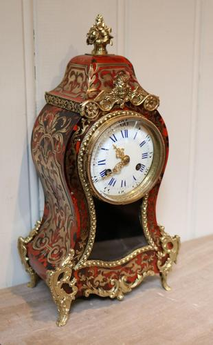 Small French Tortoiseshell & Brass Inlay Mantel Clock (1 of 9)