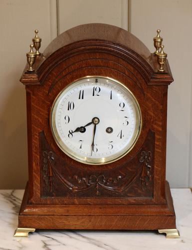 Edwardian Oak Mantel Clock, England & France c.1910 (1 of 1)