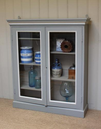 Painted Two Door Glazed Bookcase, English (1 of 1)