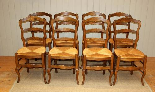 Set of 8 French Beech Rush Seat Dining Chairs c.1920 (1 of 1)