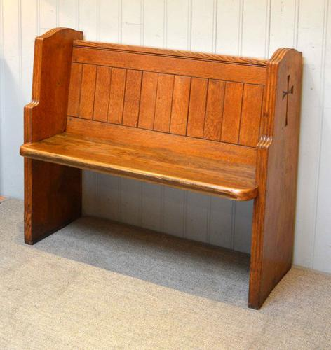 Light Oak Church Pew, English c.1950 (1 of 1)