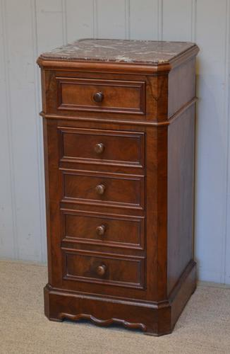 French Marble Top Walnut Cabinet c.1900 (1 of 1)