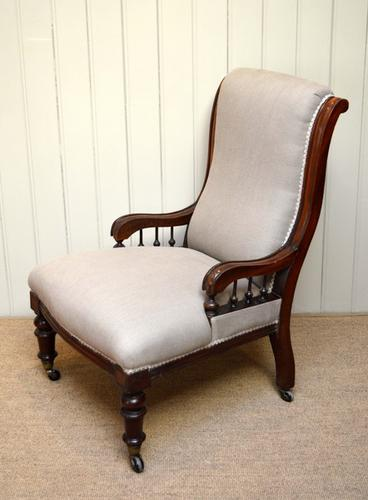 Edwardian Mahogany Upholstered Chair, English c.1910 (1 of 1)