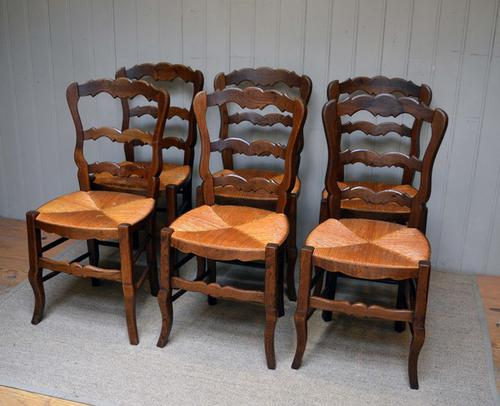 Set of 6 French Beech Dining Chairs c.1920 (1 of 1)