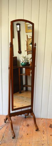 1920s Mahogany Cheval Mirror, English, c.1920 (1 of 1)