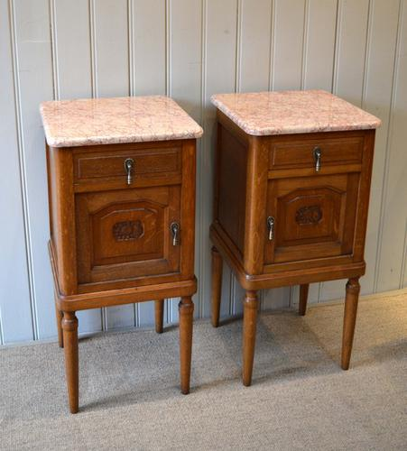 Pair of French Oak Marble Top Bedside Cabinets c.1920 (1 of 1)