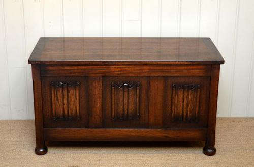 Oak Linenfold Coffer, England c.1950 (1 of 1)