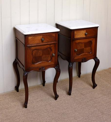 Pair of French Walnut Marble Top Bedside Cabinets c.1910 (1 of 1)